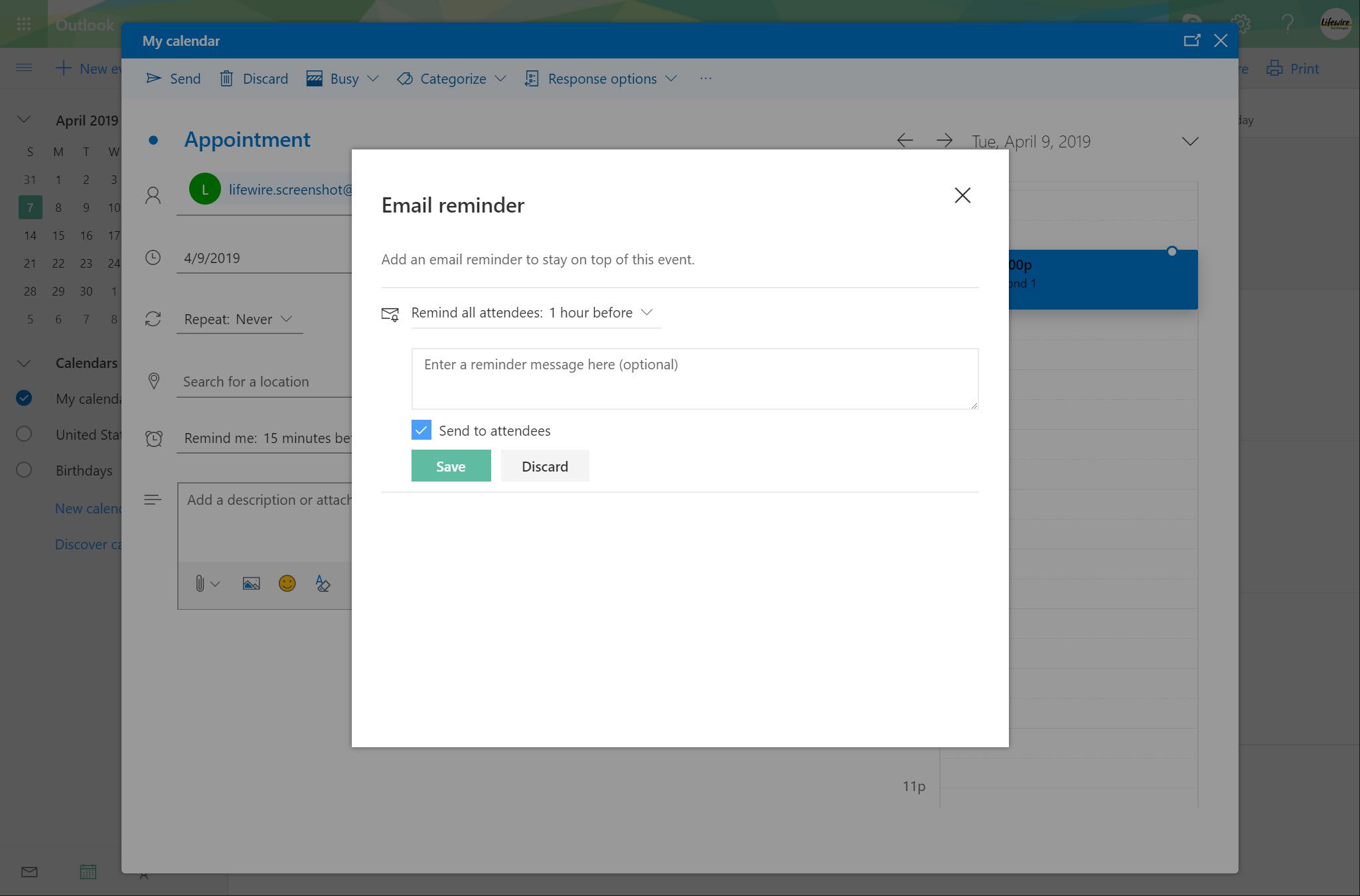 Outlook.com Email reminder window with Send to attendees checkbox selected