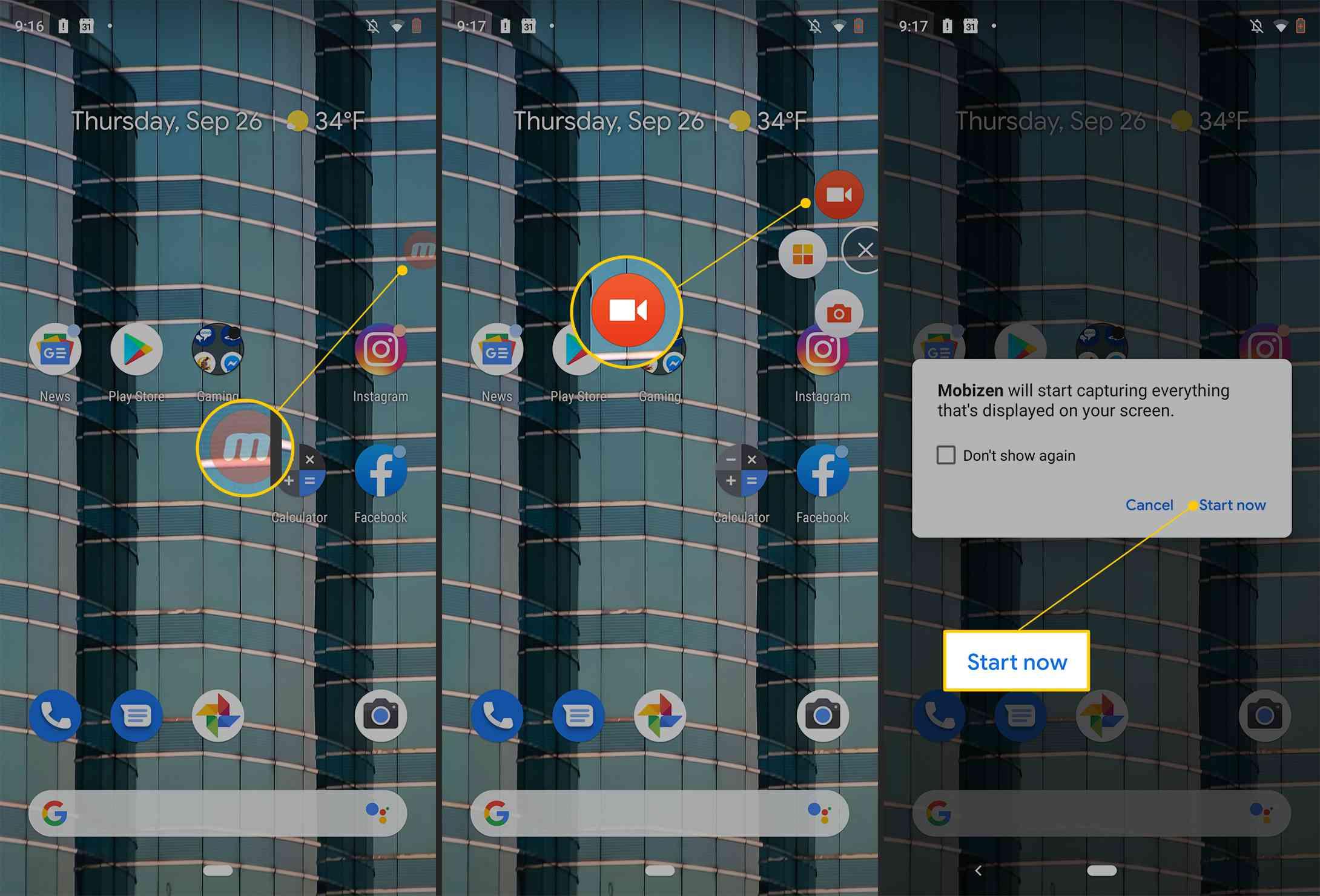 Mobizen icon, record screen video button, Start now button