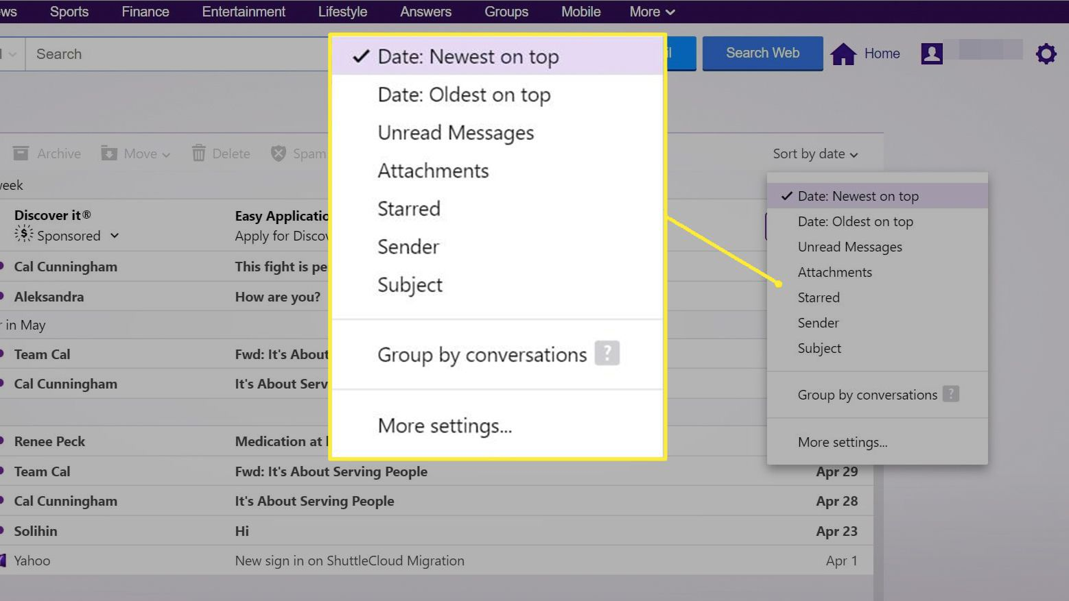 Date: Newest on Top options for email sorting