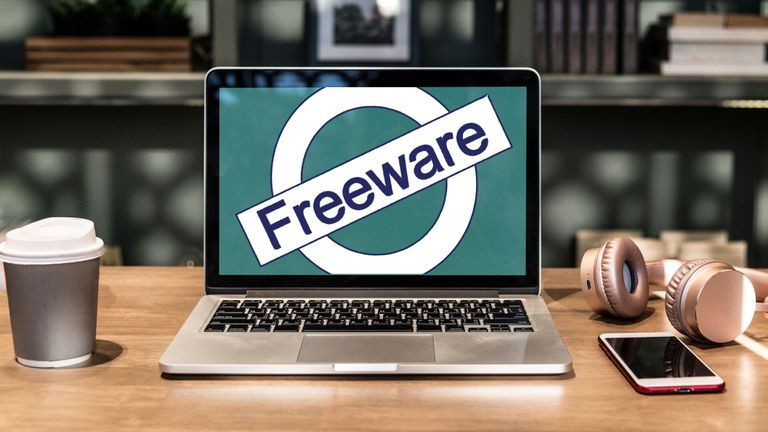 Laptop with a Freeware logo on screen