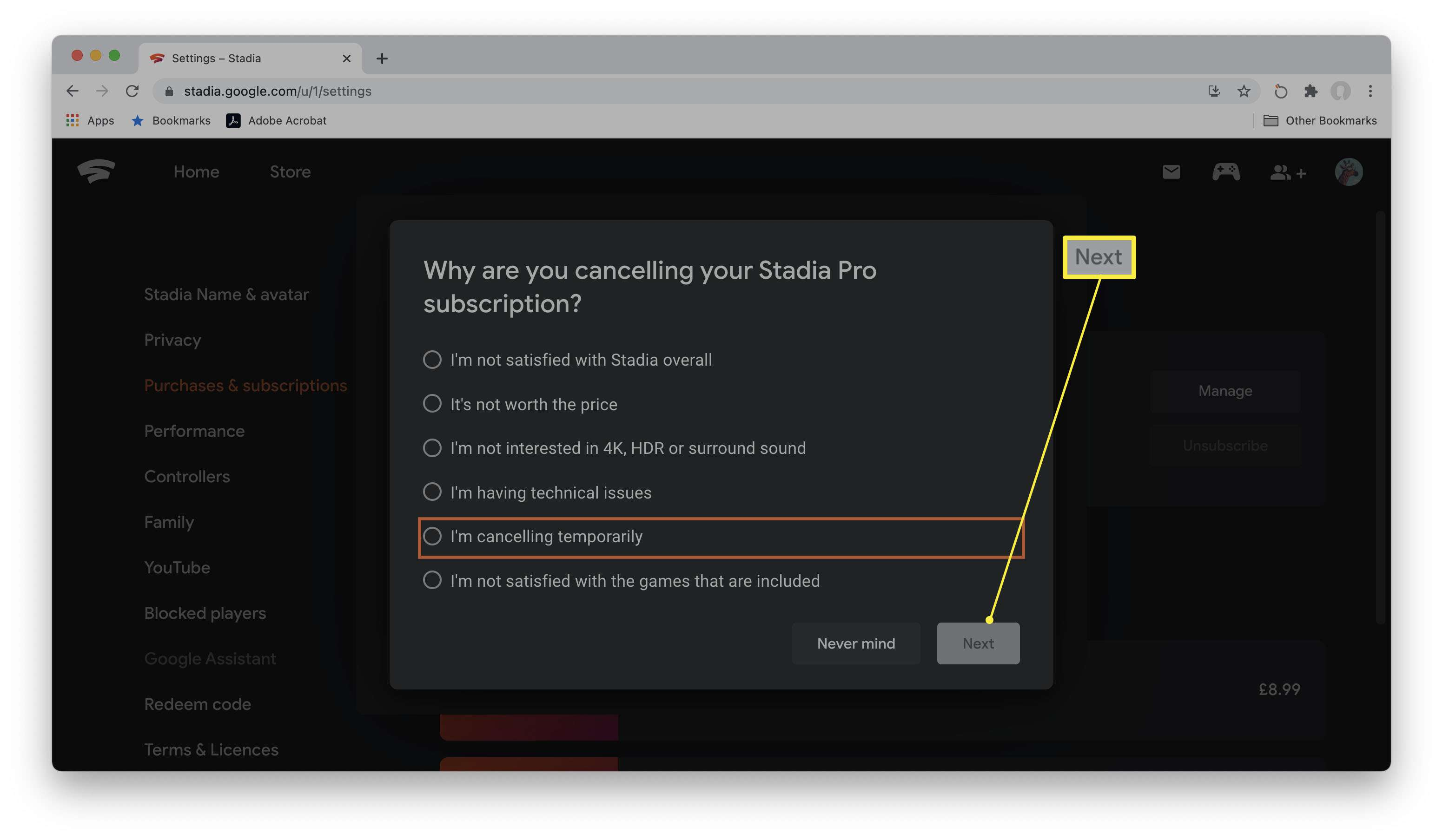 Google Stadia unsubscribe page with reasons to cancel Stadia Pro highlighted