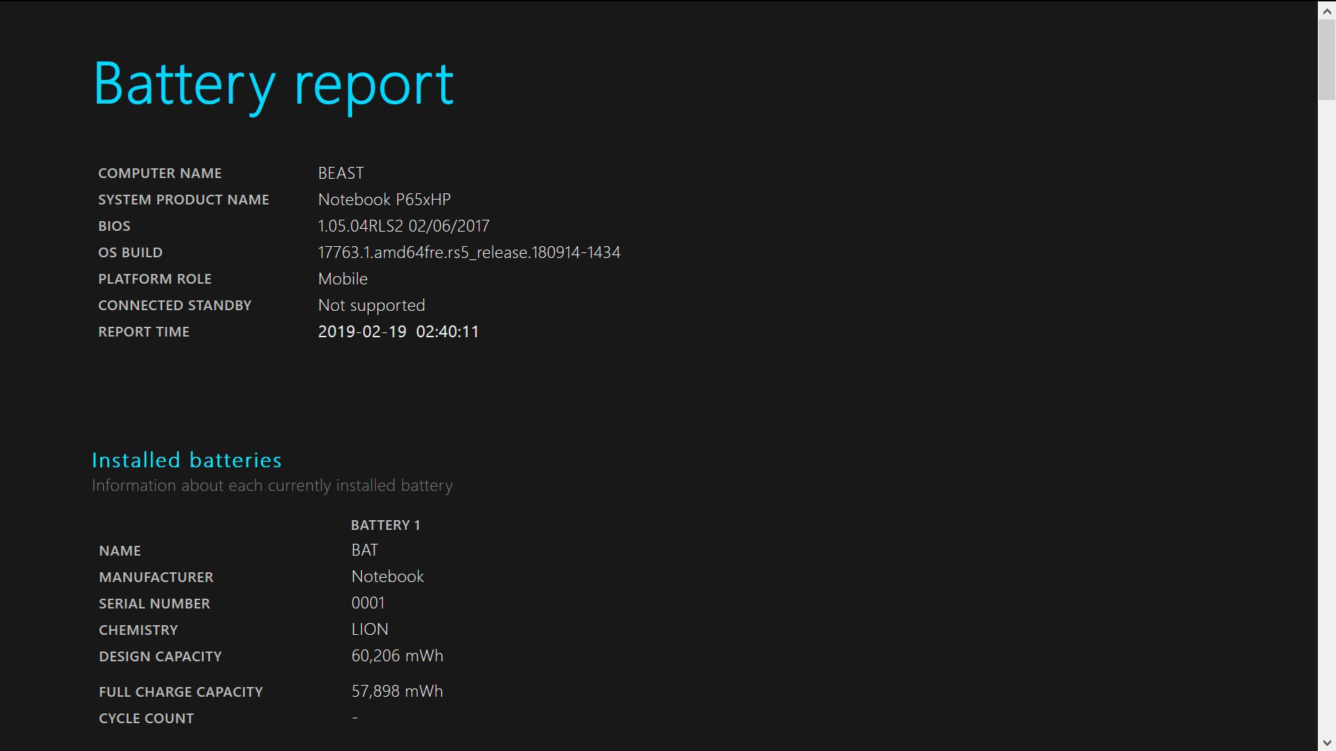 A screenshot of the first two sections of a Windows 10 battery report.