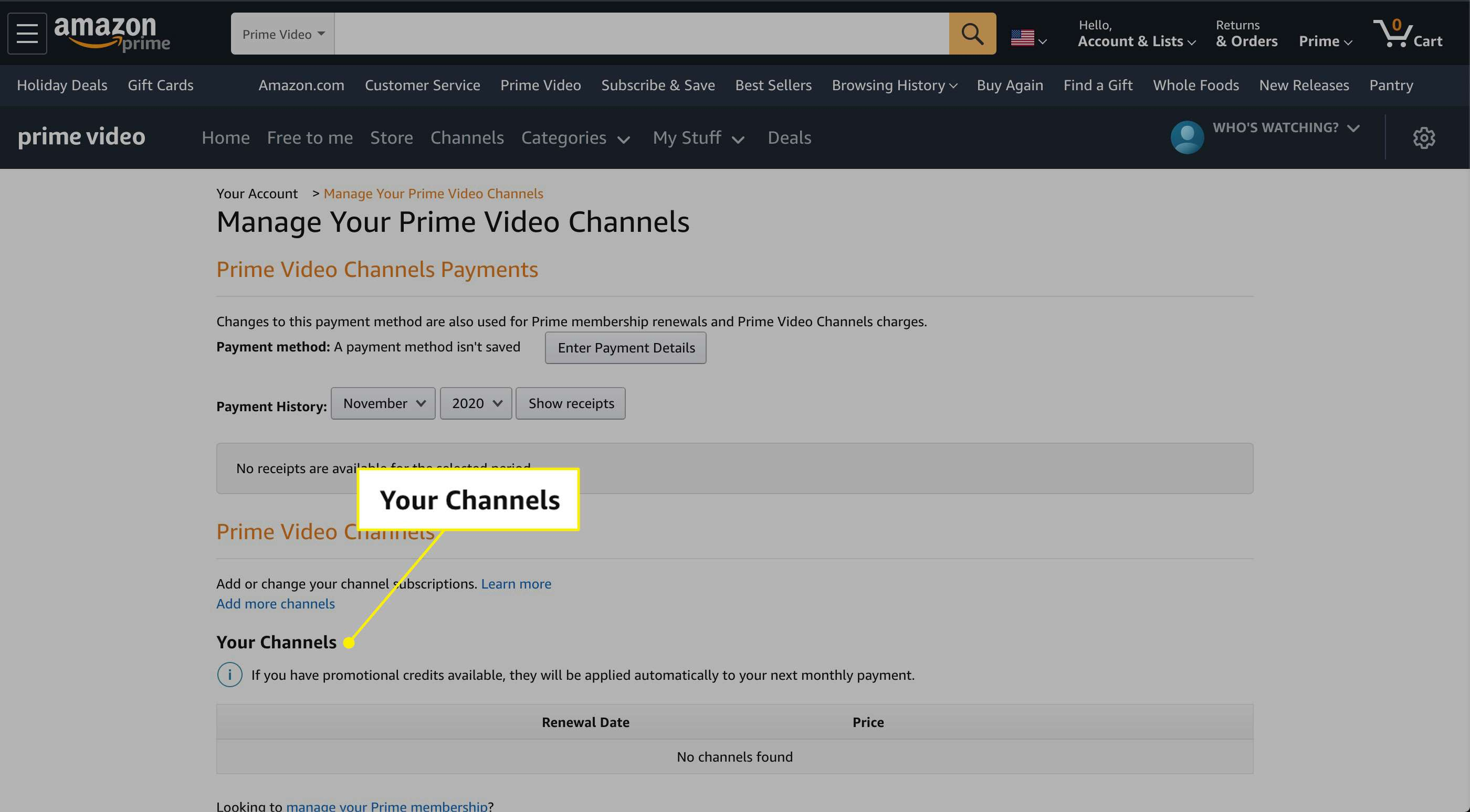 Your Channels on Amazon