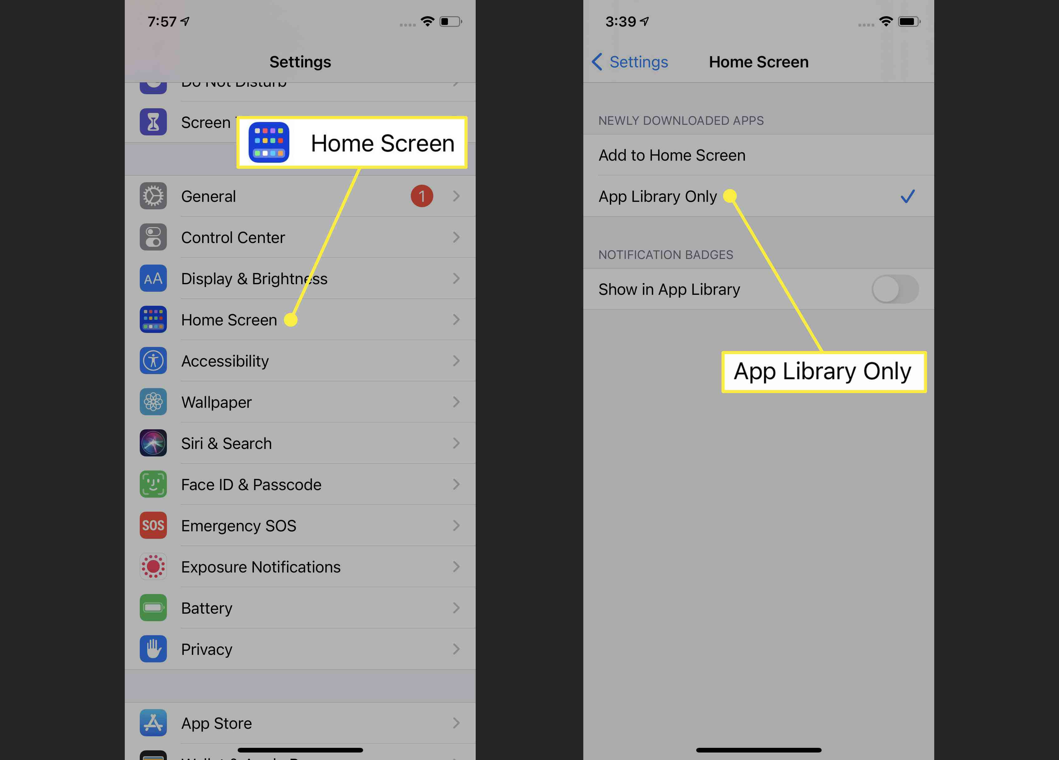 Setting for the App Library in iOS 14.