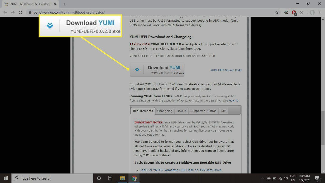 YUMI multiboot USB creator download page