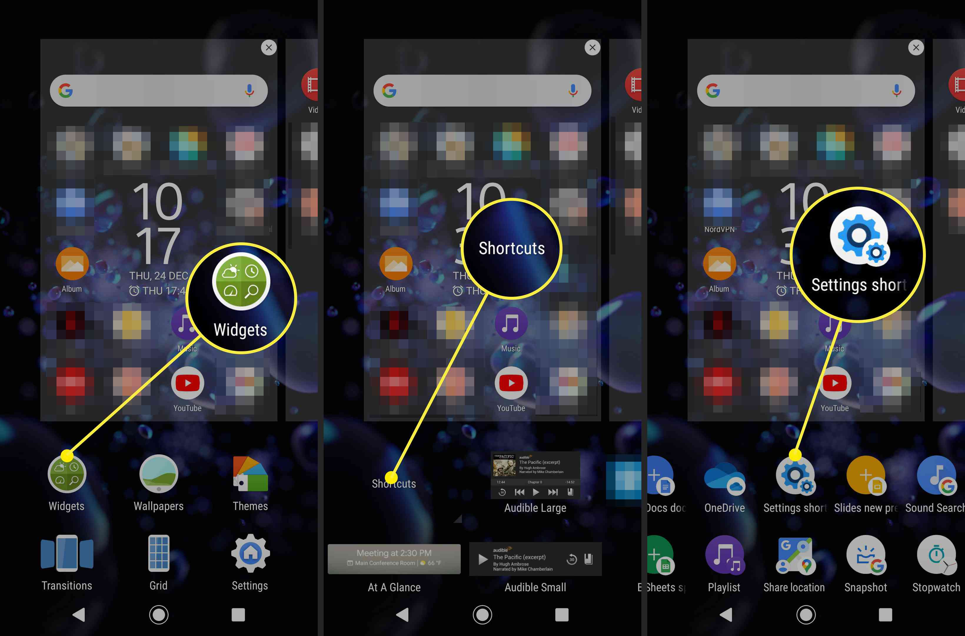 Screenshots showing how to find the settings shortcuts in Android.