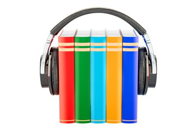 Books with headphones, audiobook concept. 3D rendering isolated on white background