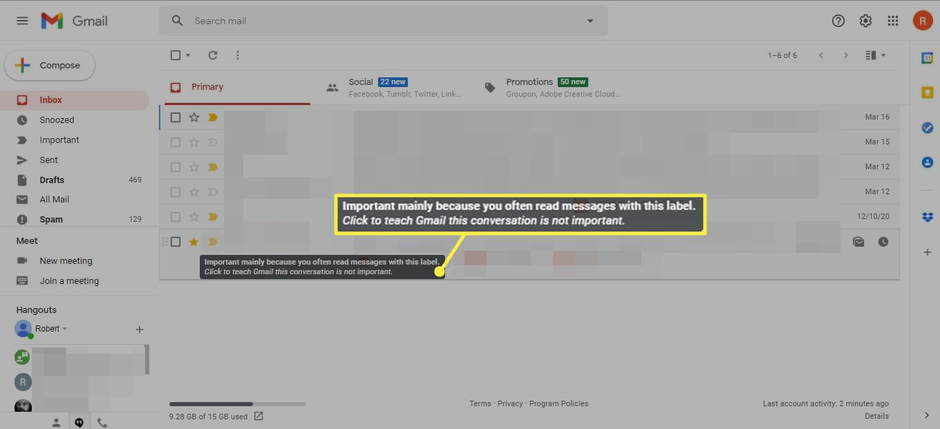 Importance explanation popup in Gmail