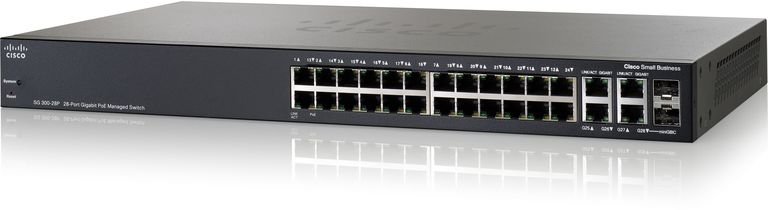 Photo of a Cisco SG300-28P Managed Switch