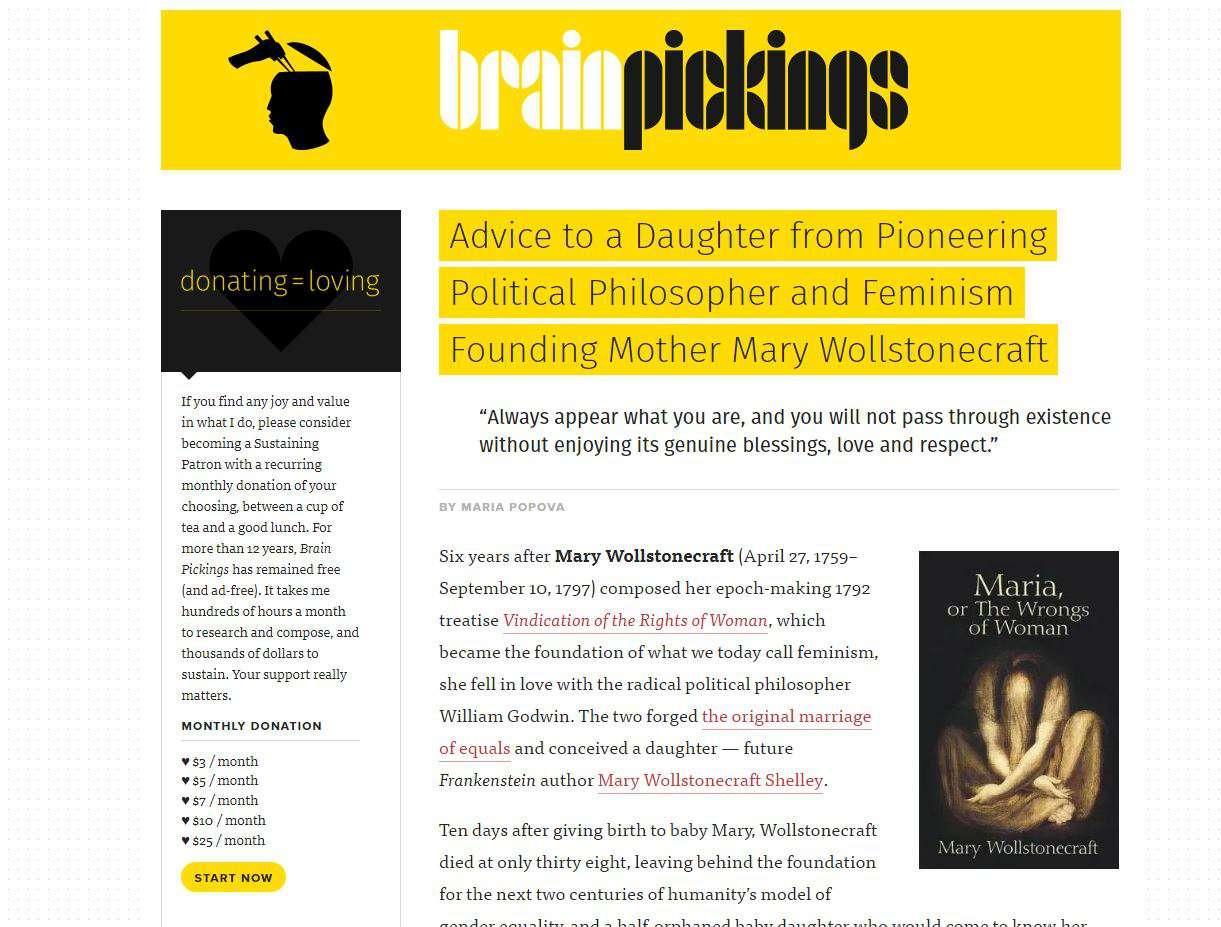 Brain Pickings website