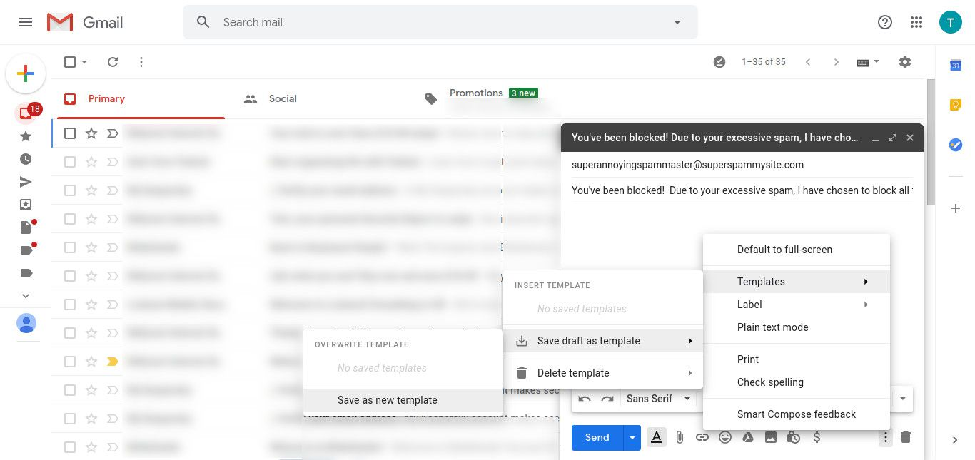 Gmail save message as template