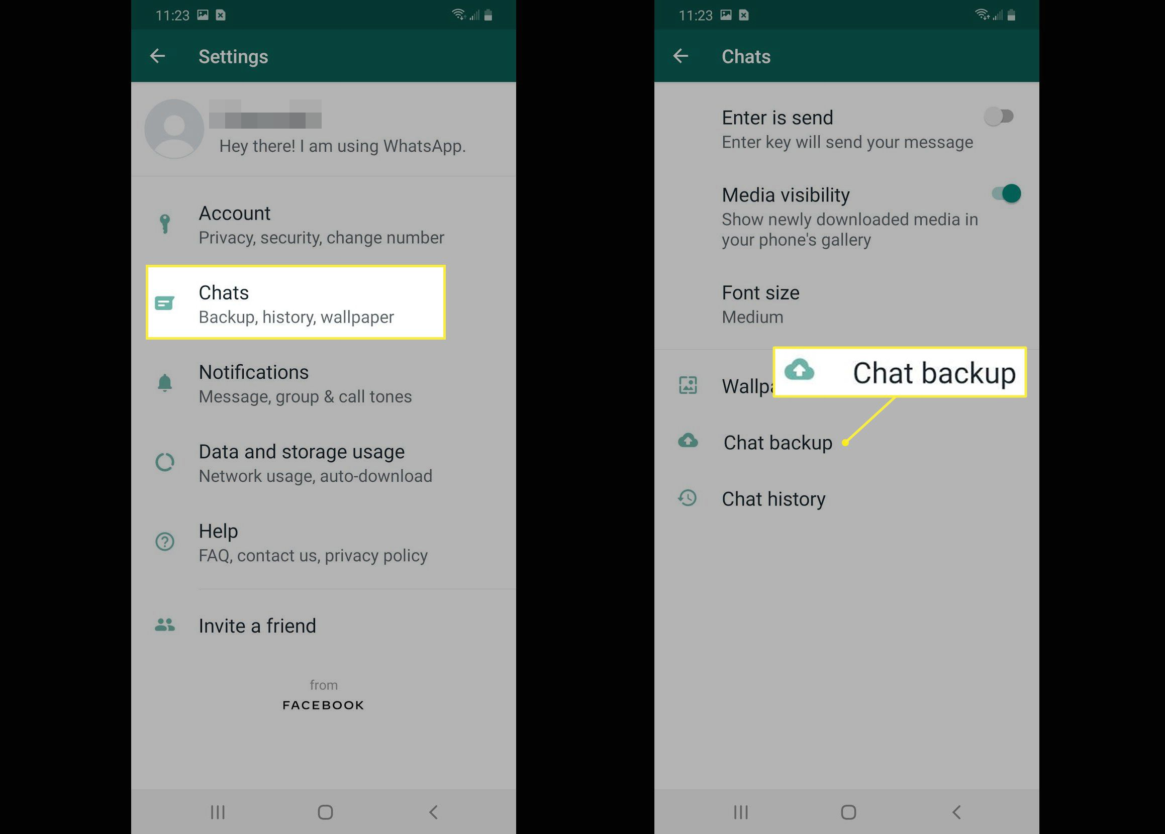 Chat backup on Android
