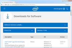 Screenshot of Microsoft's download center