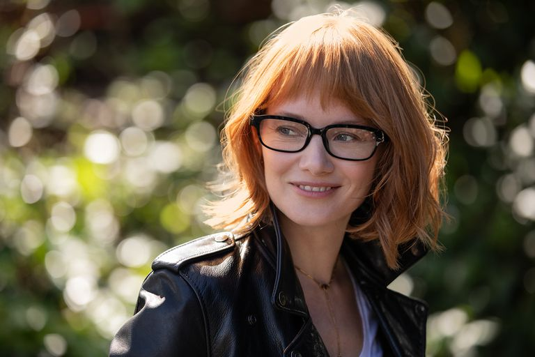 A woman wearing Amazon Echo Frames.