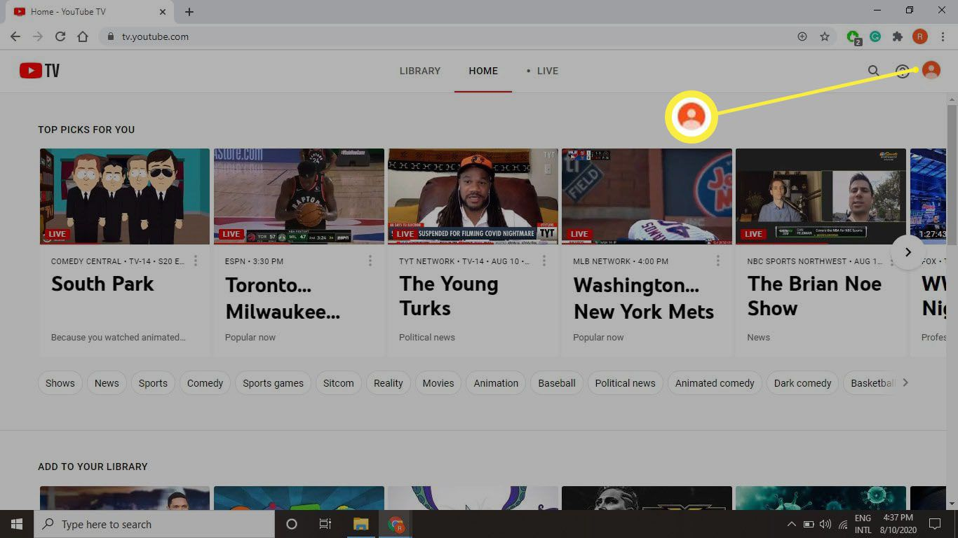 A screenshot of tv.youtube.com and select your Profile icon in the upper-right corner.