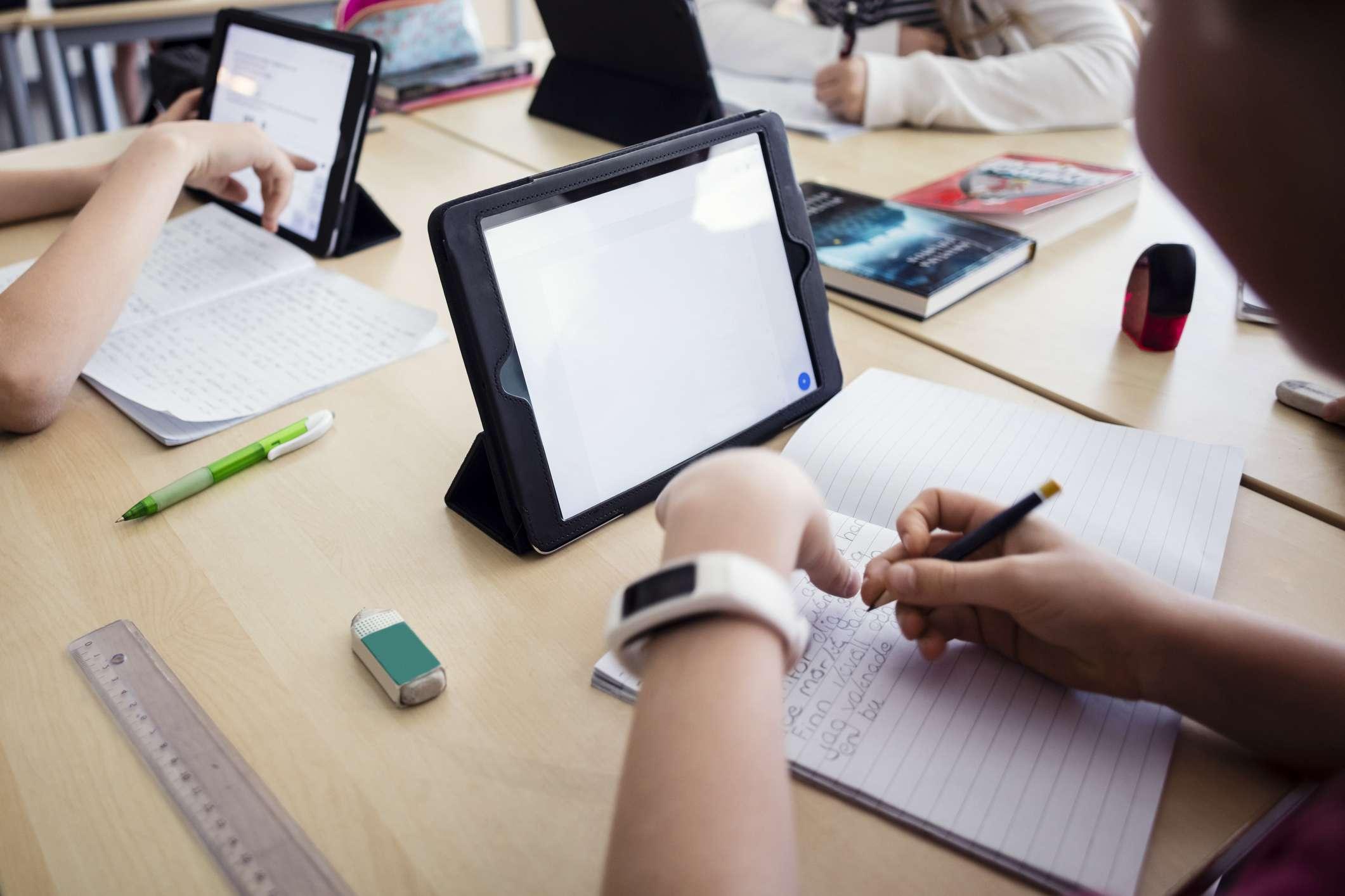 Children using iPad in the classroom.