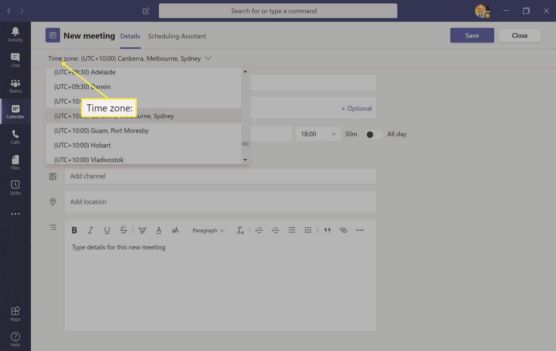 Microsoft Teams app with Time zone highlighted