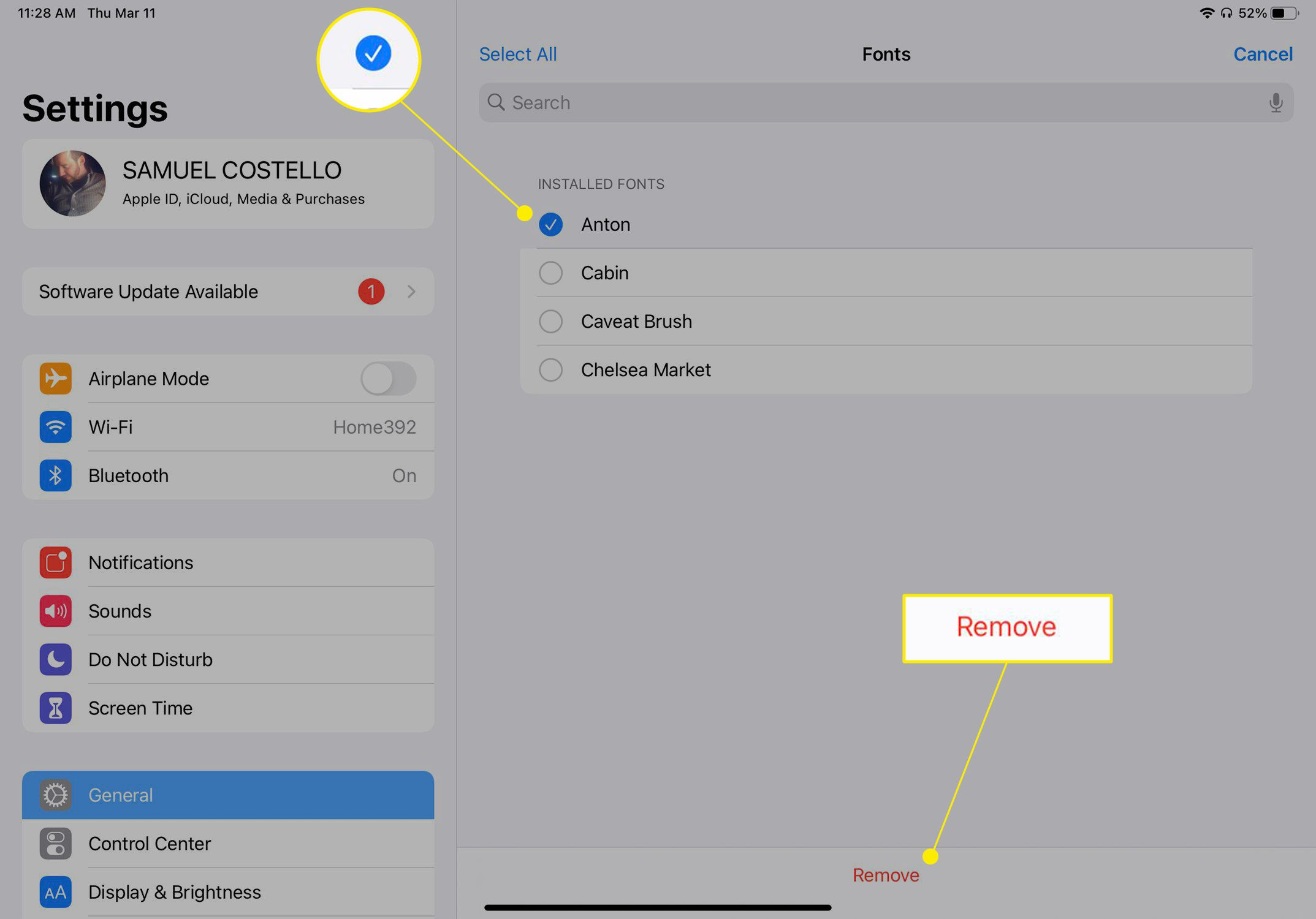 iPad font settings with the