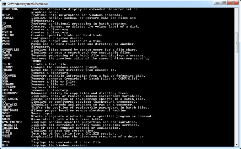 Screenshot of Windows 7 Commands