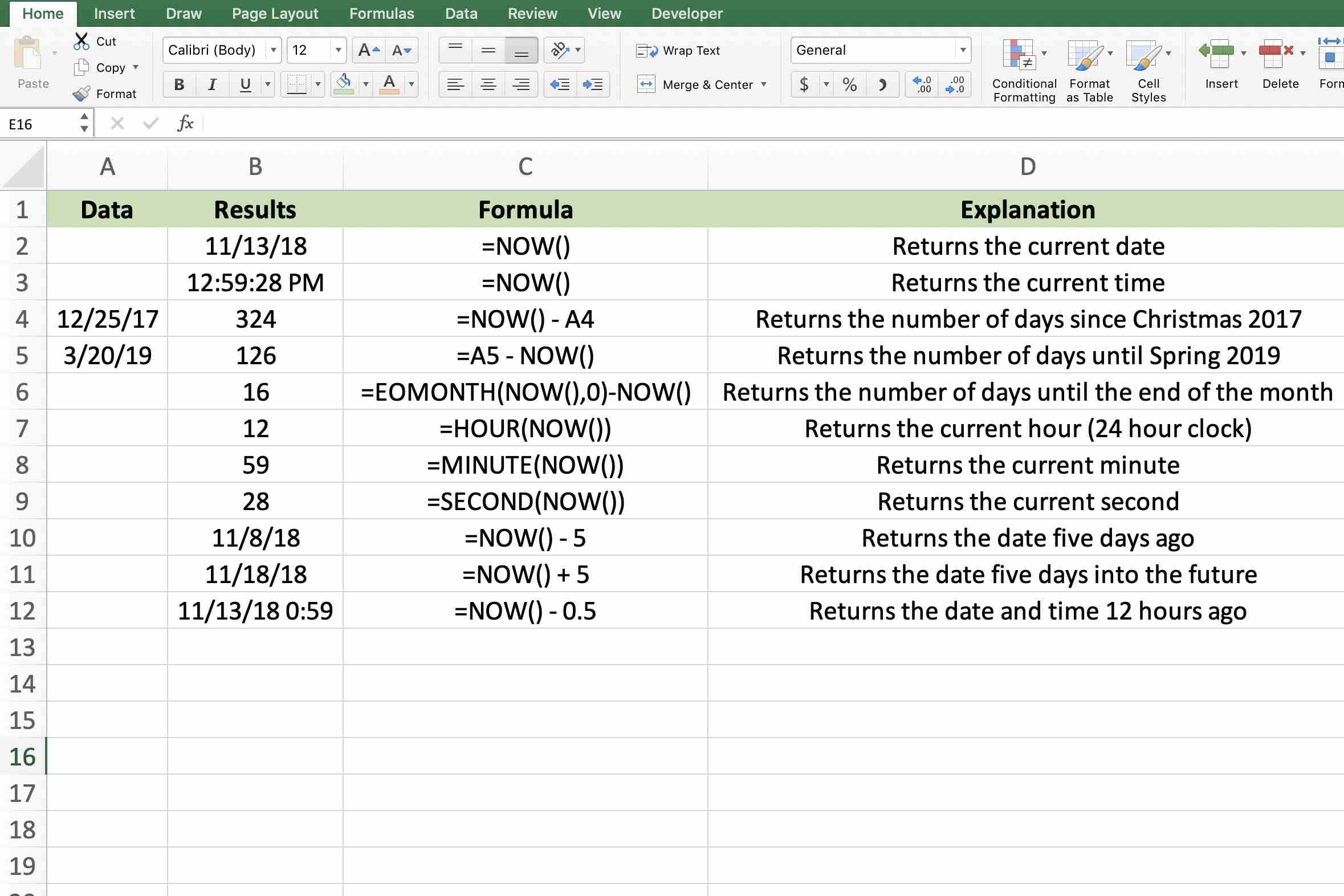 Screen shot of Excel showing uses of the NOW() function