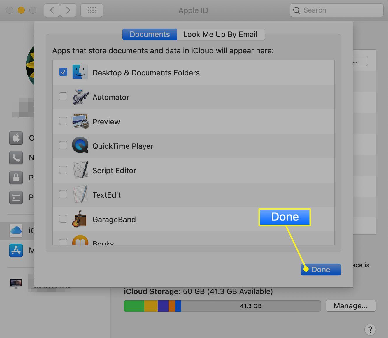 iCloud app list in iCloud preferences