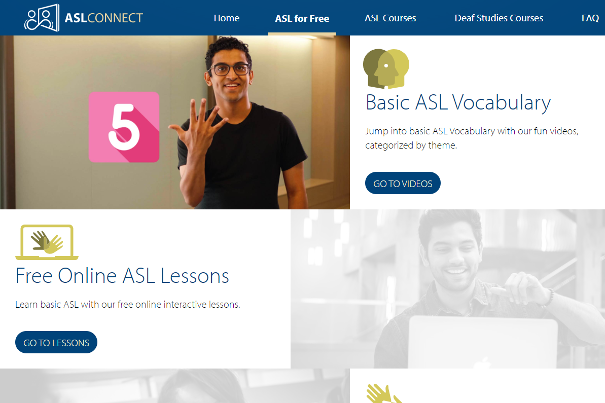 ASLConnect sign language resources from Gallaudet University