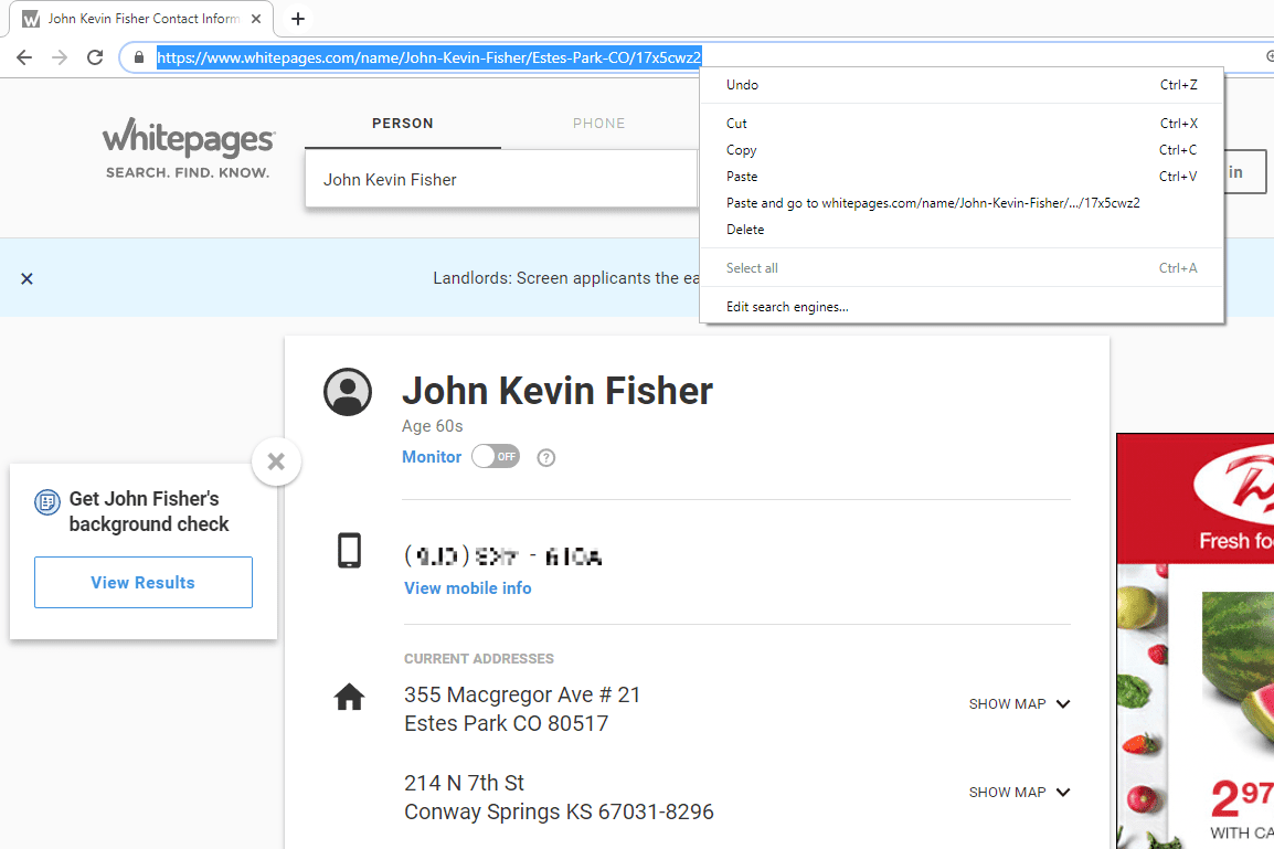 Whitepages copy URL