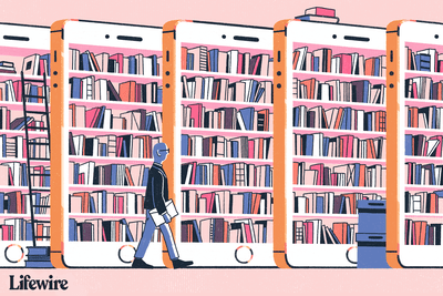 Library as if books shelved on huge iPhones