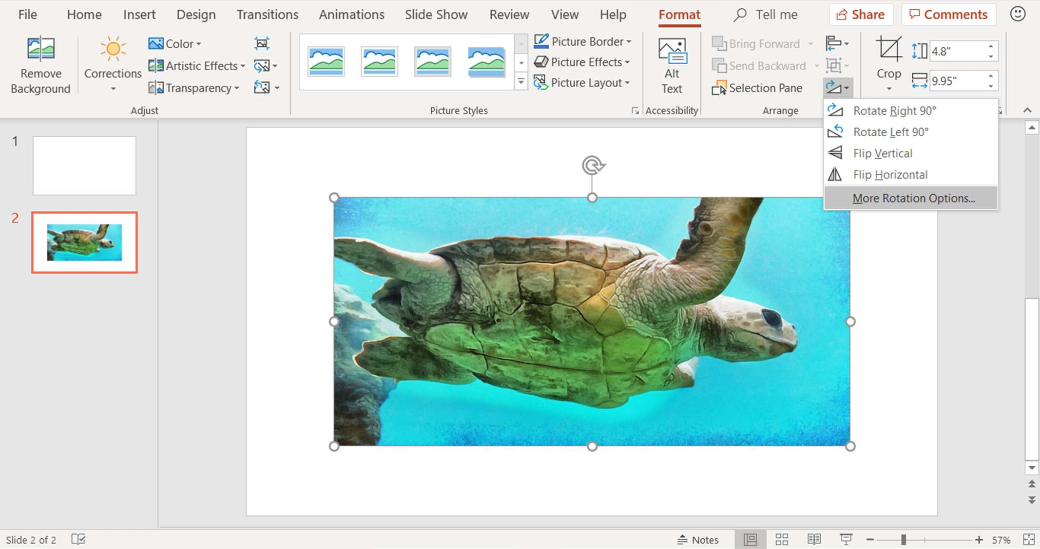 A screenshot showing how to find more rotation options for an image in a PowerPoint presentation