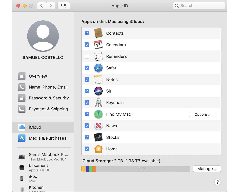 Screenshot of the iCloud settings window on a Mac