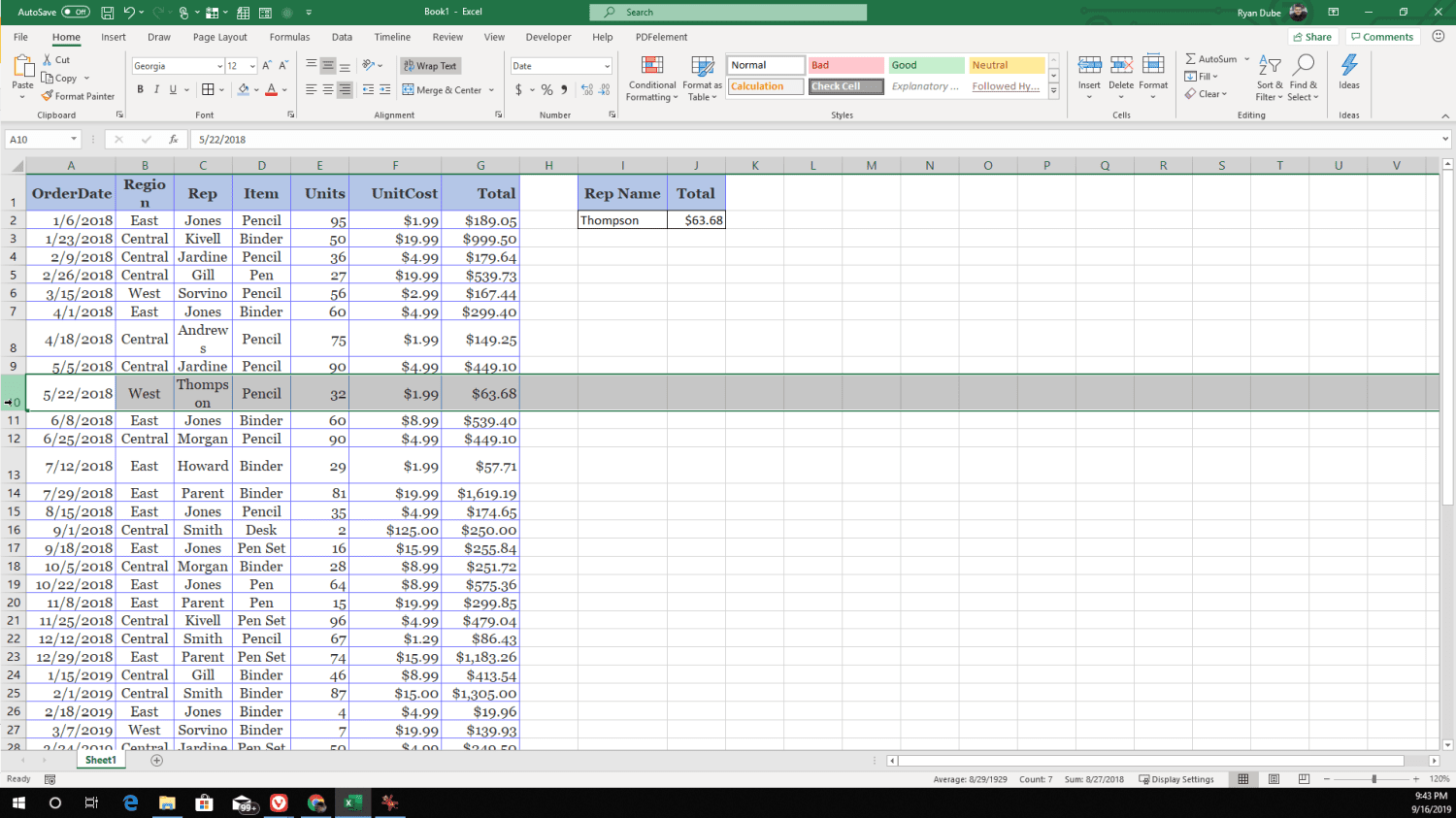 Screenshot of searching for a single item using XLOOKUP