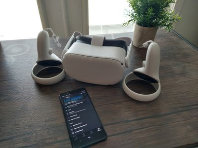 An Oculus headset with a phone performing an update
