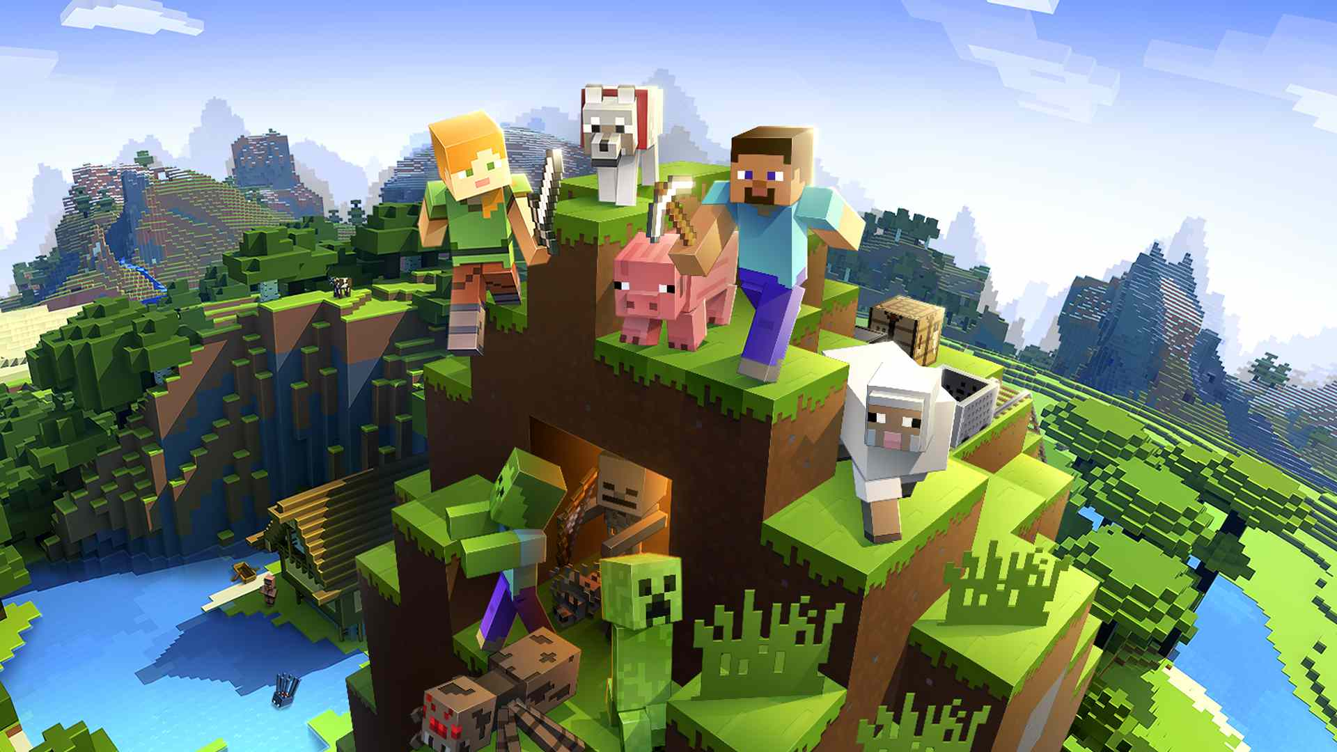 Minecraft video game on Xbox and Nintendo Switch.