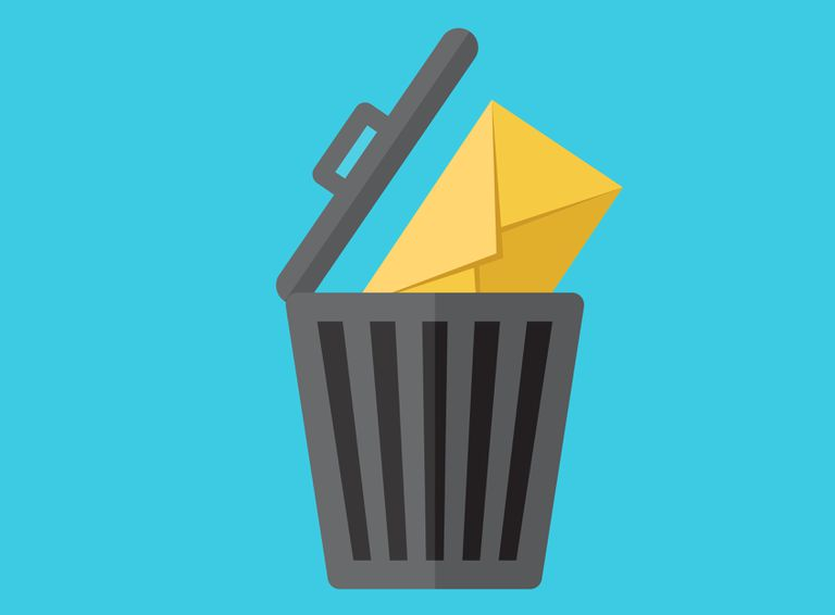 Illustration of a trash can with an envelope hanging out of it