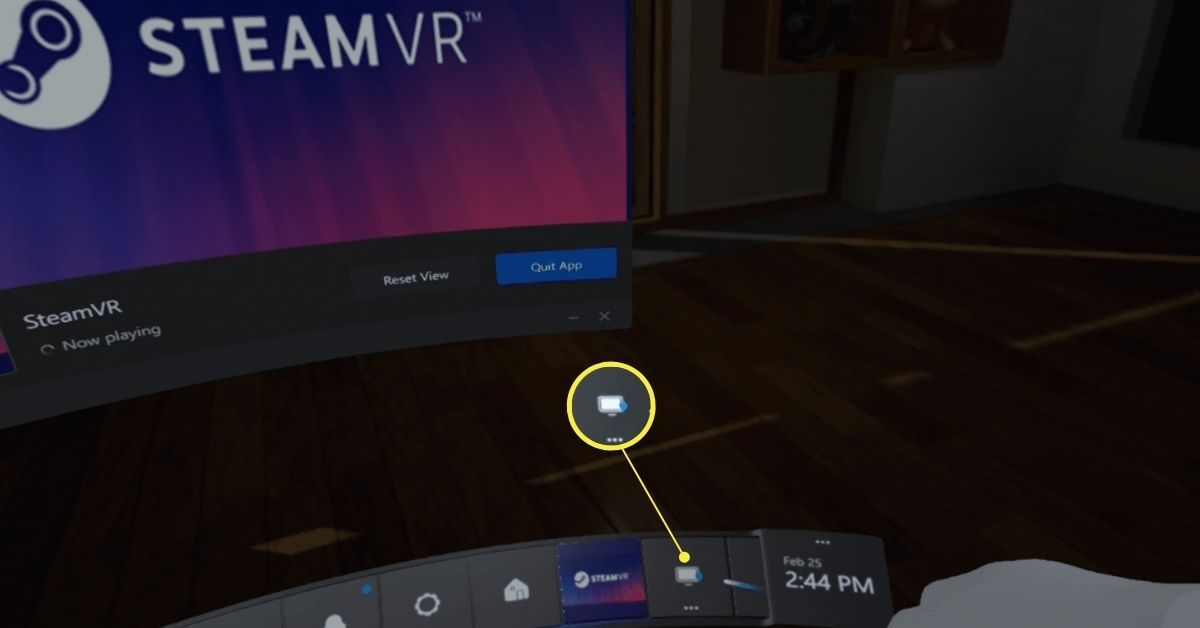 Selecting the monitor (virtual desktop) icon in the Steam VR interface.