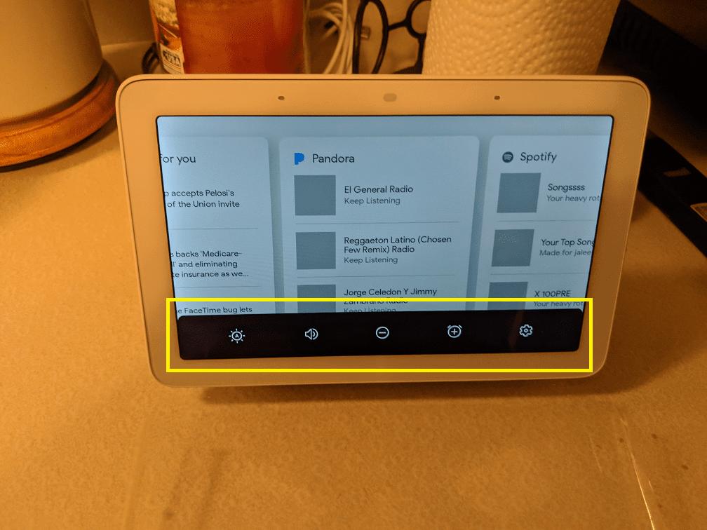 The setting on Google Home Hub.
