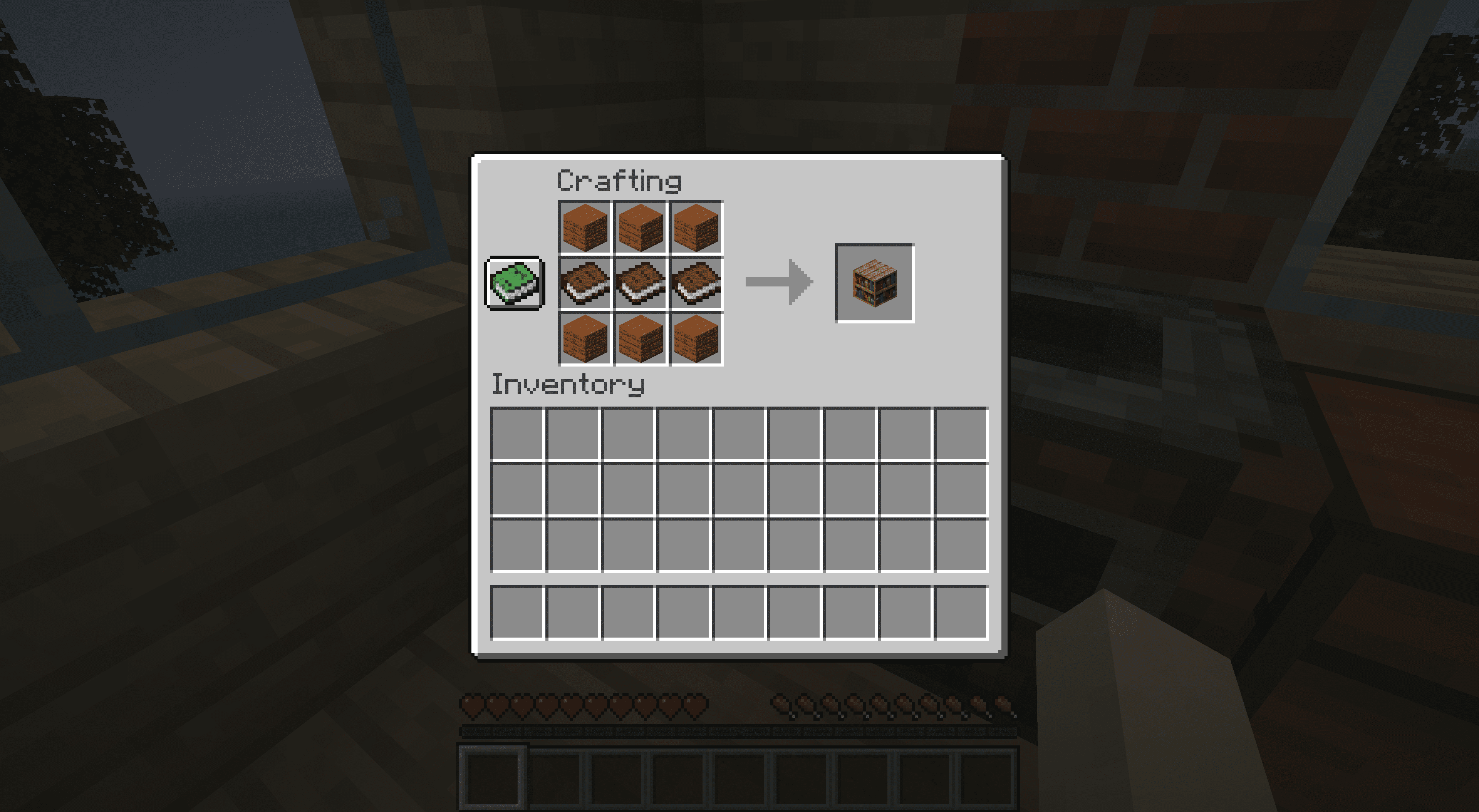 The recipe for crafting a bookshelf in Miencraft.
