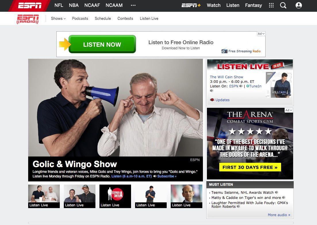 Screenshot of ESPN Radio, where you can listen to Super Bowl updates
