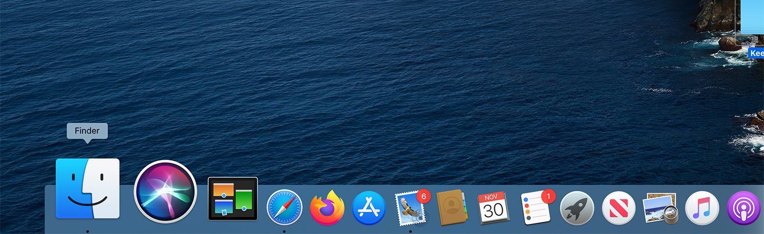 The Finder icon in the Mac Dock