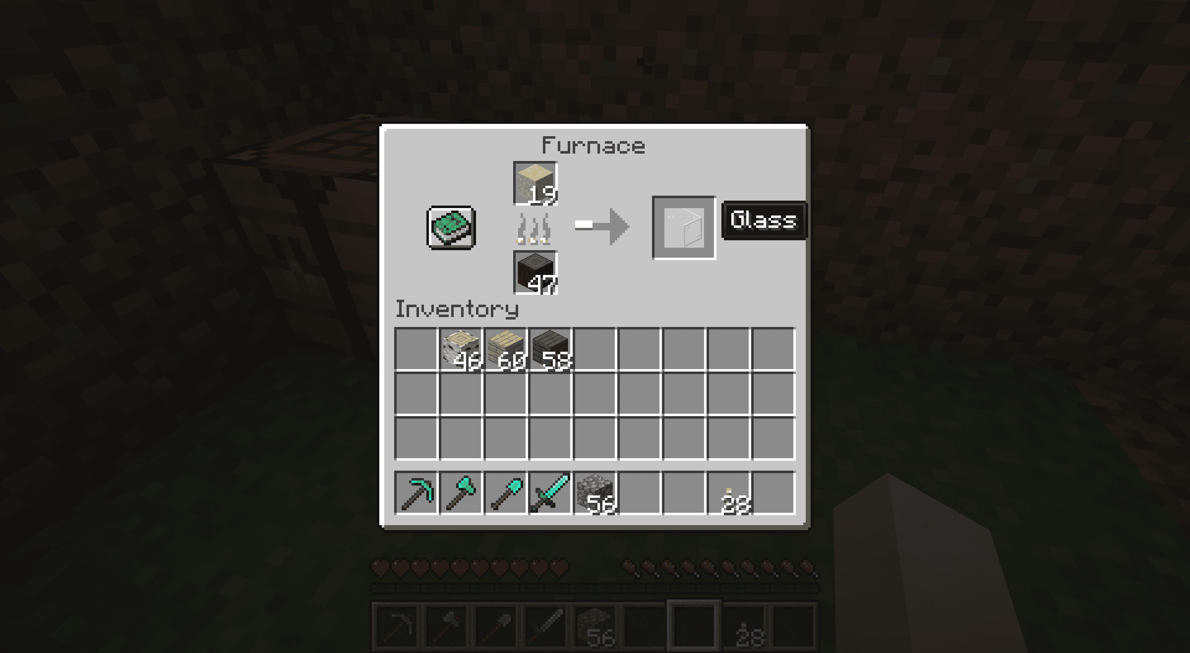 Making glass in Minecraft.