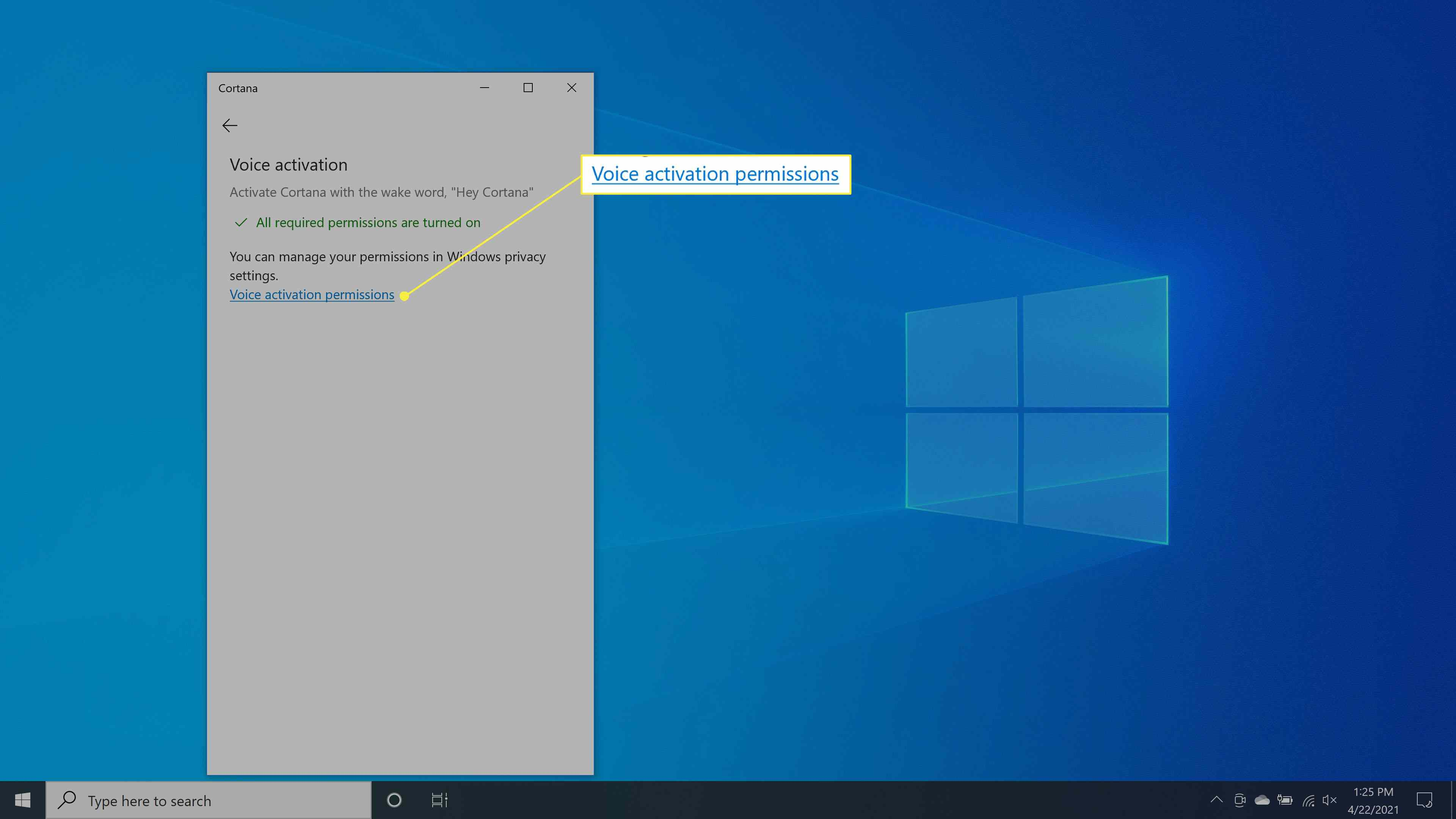 Selecting Voice activation permissions in Cortana.