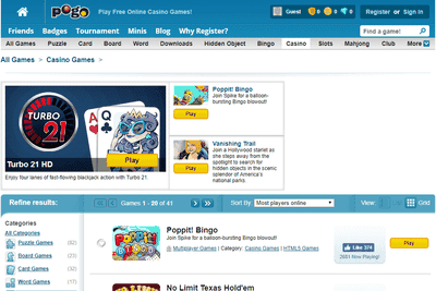 Screenshot of the Pogo.com free online games website