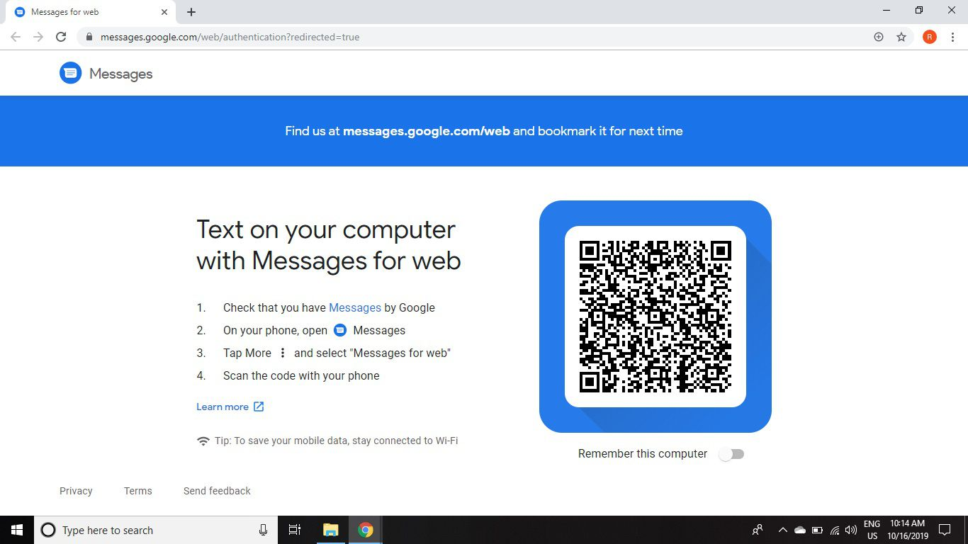 Open the Android Messages website in any web browser.