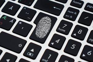 Keyboard with fingerprint on it.