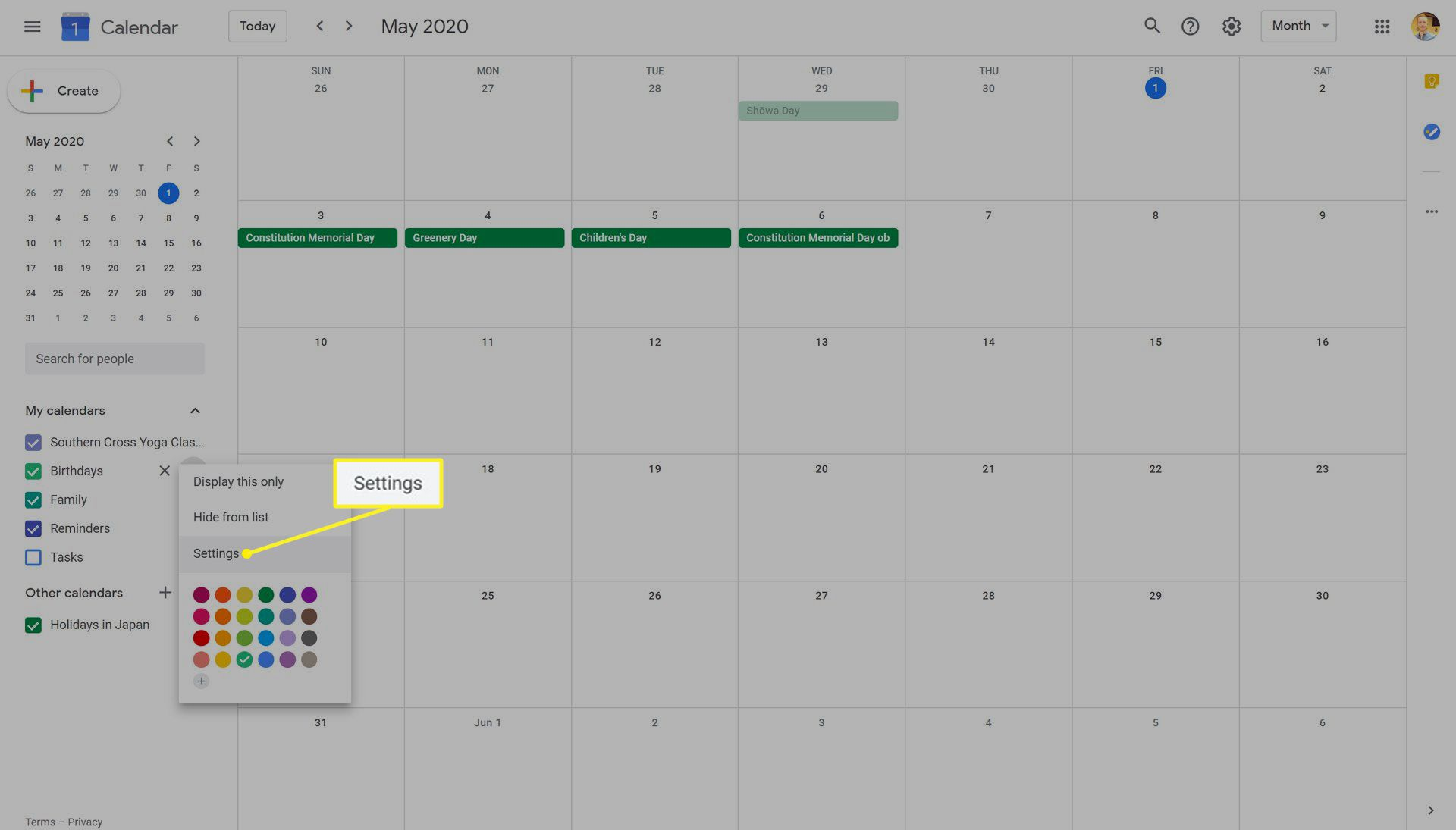Google Calendar on the Web site Settings highlighted