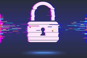 Cyber security concept: lock, glitch design.vector illustration