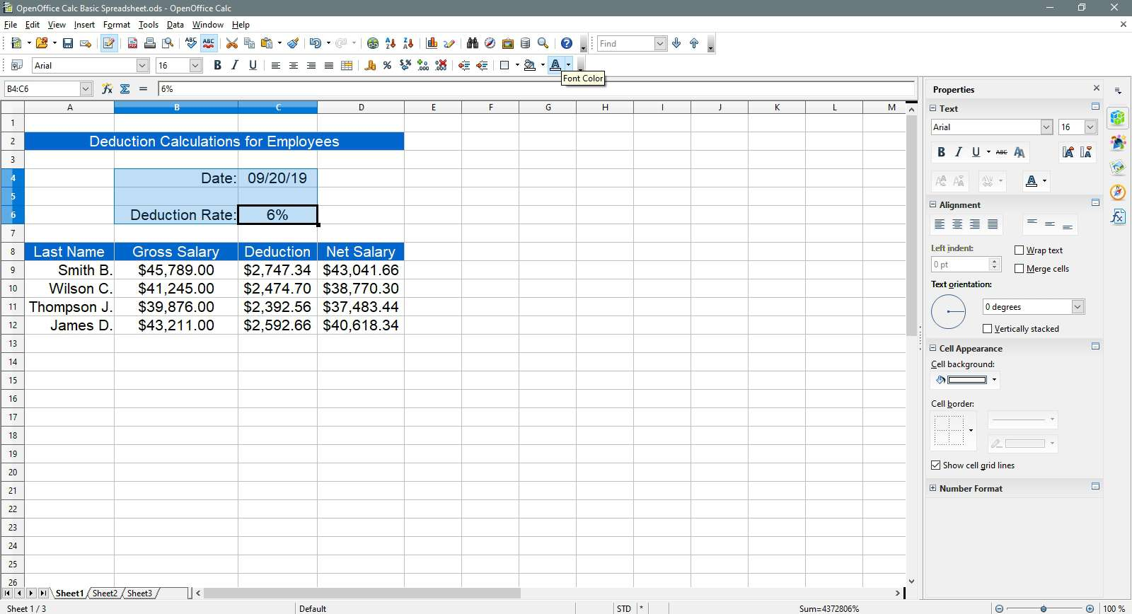Cells selected to change the font color in OpenOffice Calc.