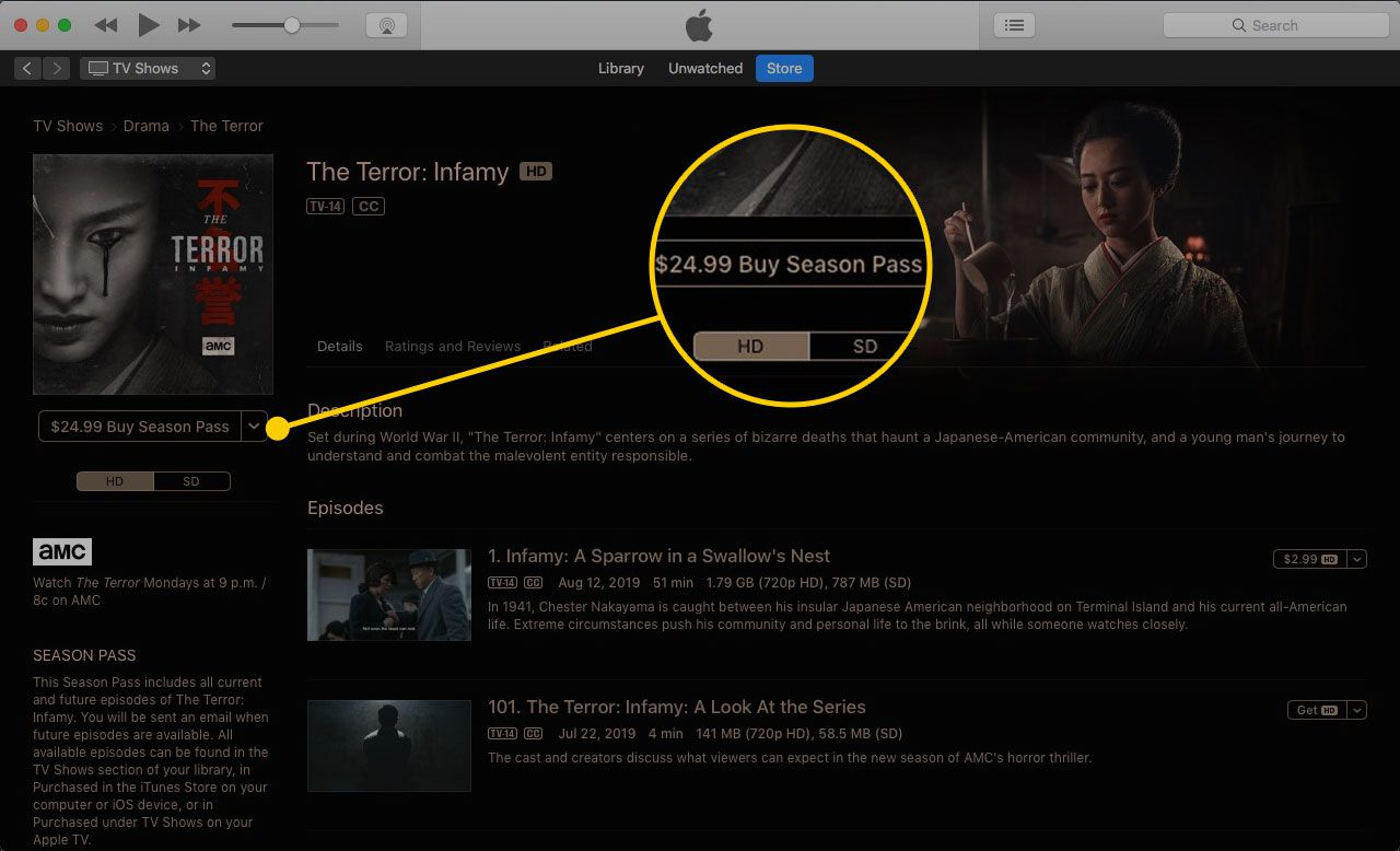 A TV show's page in iTunes with the Buy Season Pass button highlighted