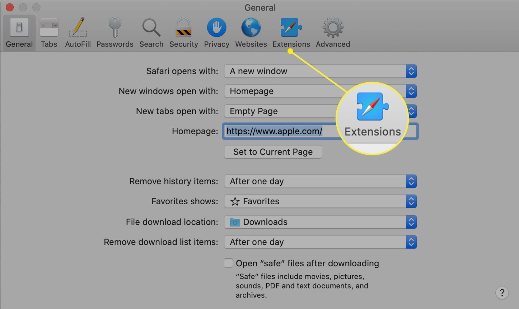 The Extensions tab selected in Safari General preferences