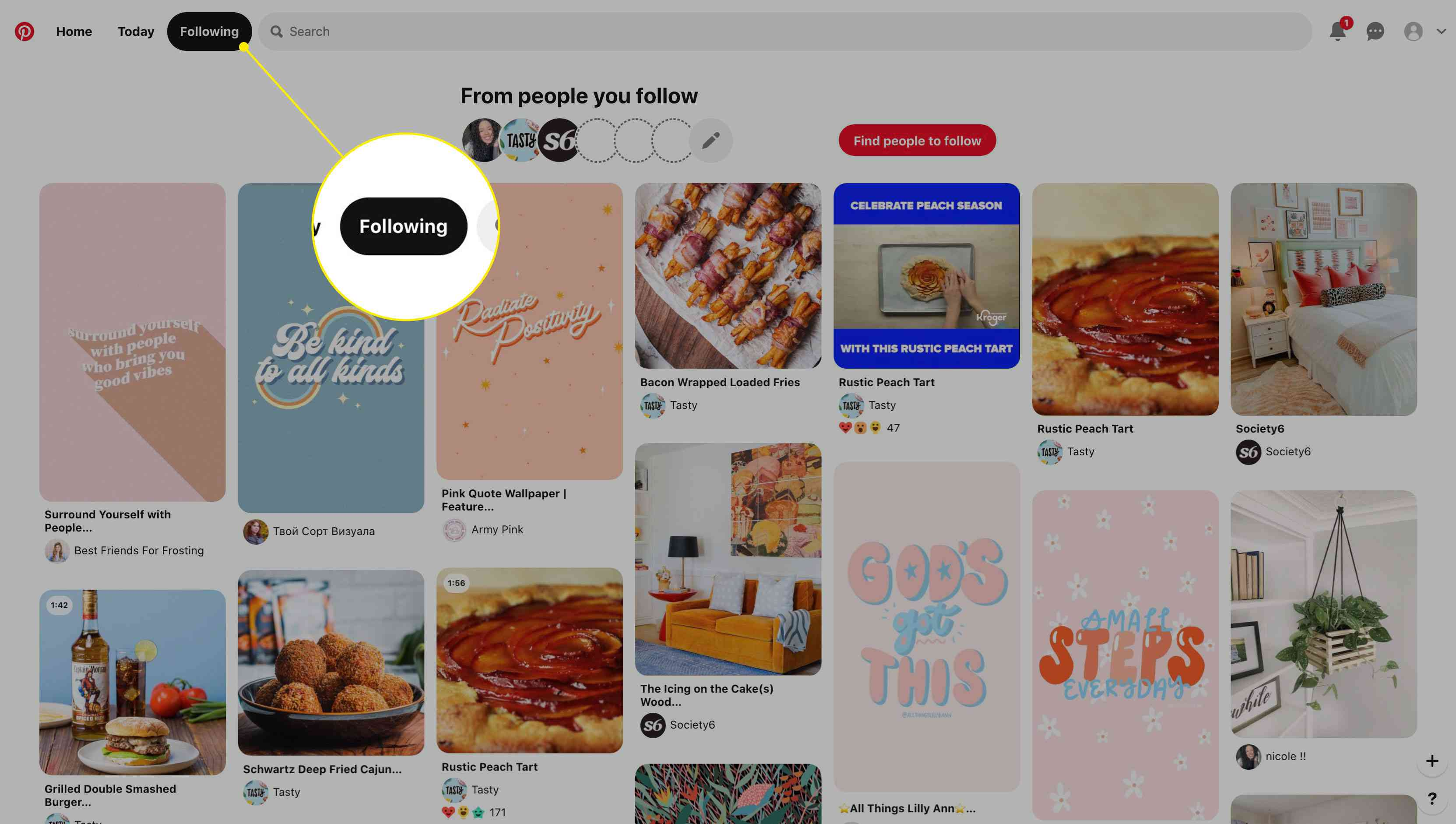 The Following tab on Pinterest